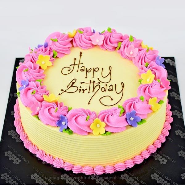 BIRTHDAY ROUND RIBBON CAKE 1Kg (2.2 lbs) - Lassana Cakes - in Sri Lanka