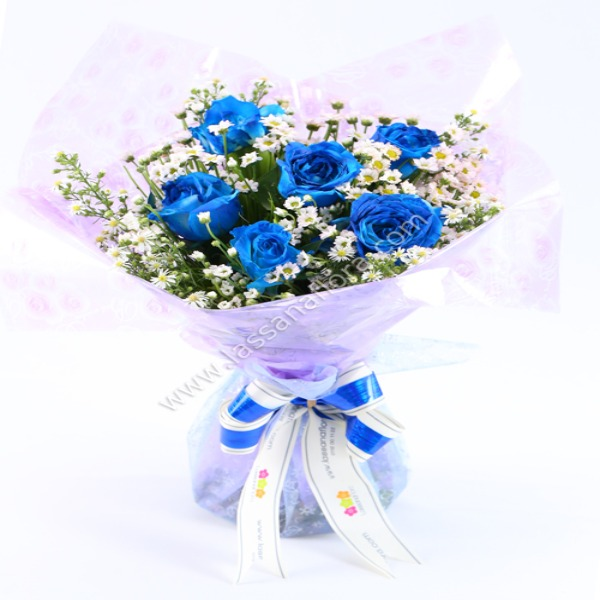 A BOUQUET OF HALF DOZEN BLUE ROSES - Love & Romance - in Sri Lanka