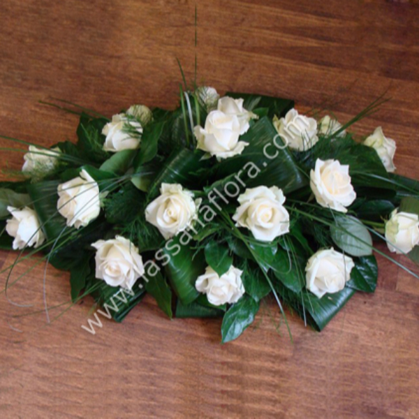 COFFIN WREATH WHITE ROSES (1 FEET) - Sympathy - in Sri Lanka