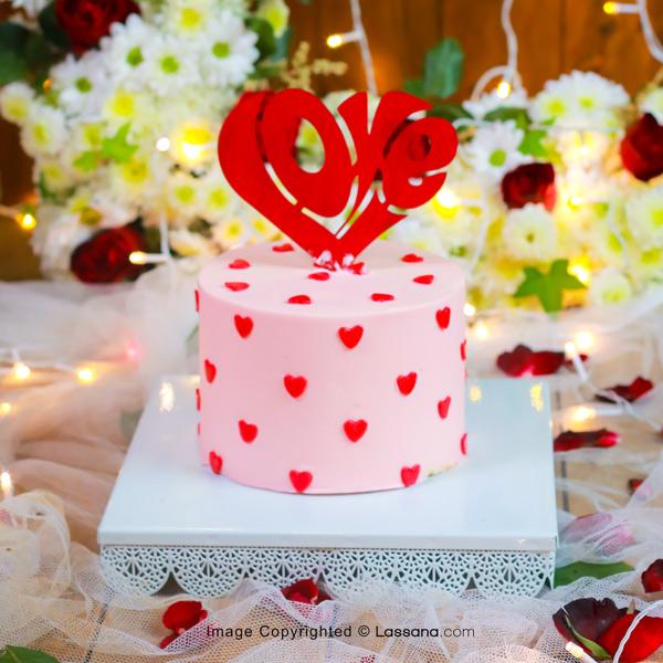 LOVE HEART BLUSH PINK CAKE - 1KG (2.2LBS) - Lassana Cakes - in Sri Lanka