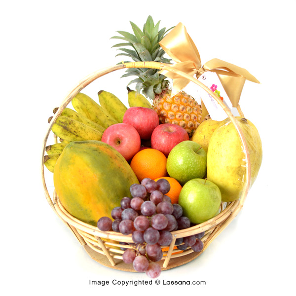 EXOTIC FRUIT BASKET (With Flower Bunch) - Fruit Baskets - in Sri Lanka