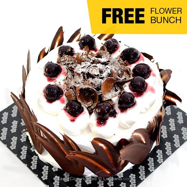 BLACK FOREST CAKE 1 Kg (2.2 lbs) (Free Flower Bunch) - Lassana Cakes - in Sri Lanka