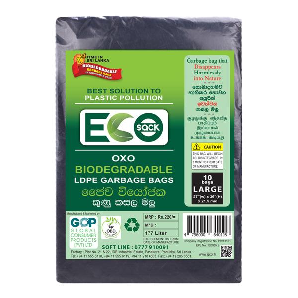 "ECO GARBAGE BAG - J.S LARGE BLACK (27""*36"" ABOVE 20 MIC) LDPE - Household Essentials - in Sri Lanka"