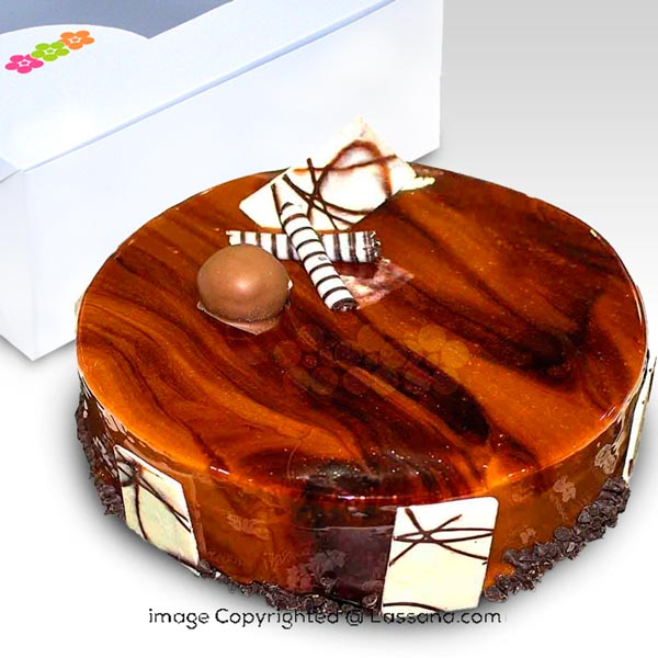 Elegant Brown Chocolate Cake 1Kg (2.2 lbs) - Lassana Cakes - in Sri Lanka