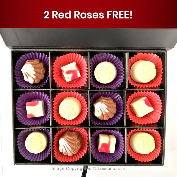 Chocolates By Lassana -12 Pcs Box ( Double Red Rose Free ) - Gift Packs - in Sri Lanka