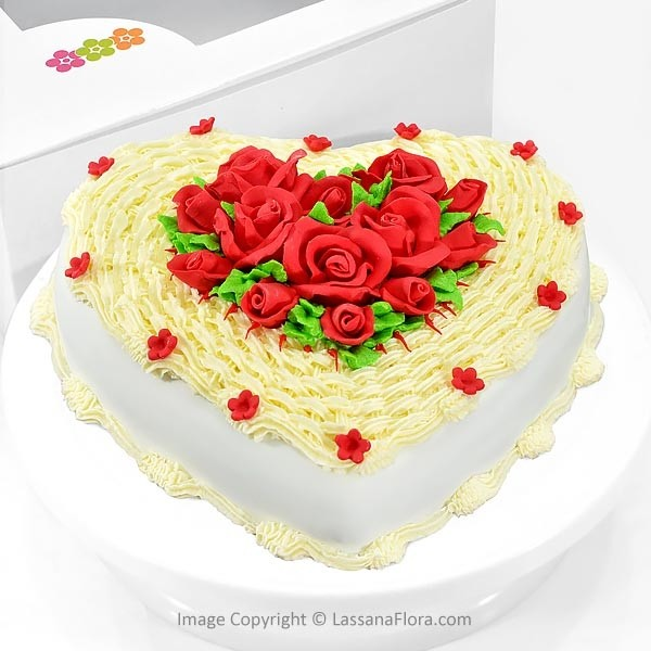 Sweetheart Ribbon Cake 1Kg (2.2 lbs) - Lassana Cakes - in Sri Lanka