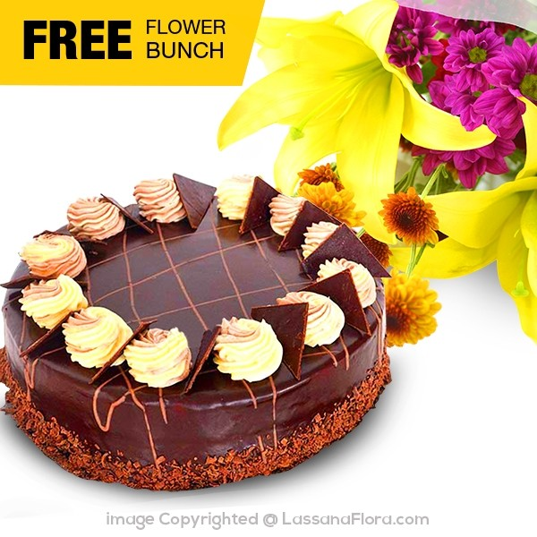 CHOCOLATE CREAMY GATEAU- 1.2kg (2.6 lbs) (With Flower Bunch) - Lassana Cakes - in Sri Lanka