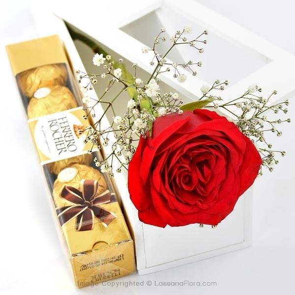 5 FERREROS WITH A SINGLE RED ROSE - Love & Romance - in Sri Lanka