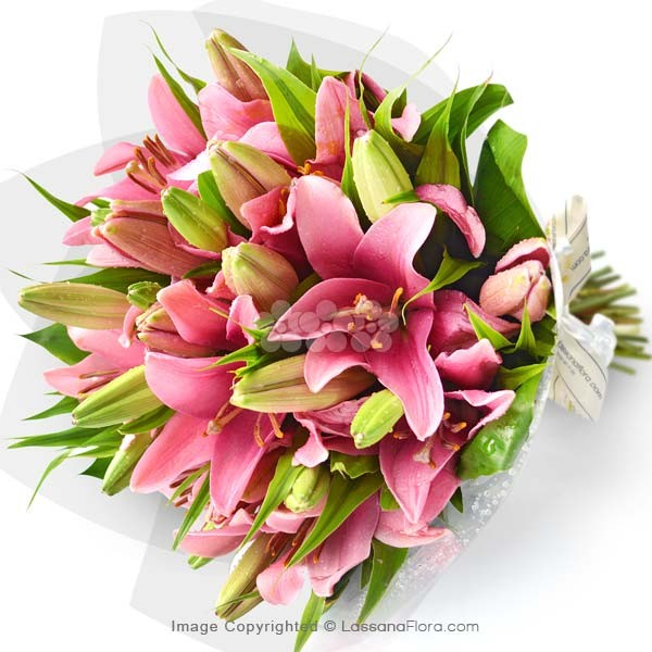 BUNCH OF SUMMERSET LILIES (5 Stems of Pink Lilies) - Love & Romance - in Sri Lanka
