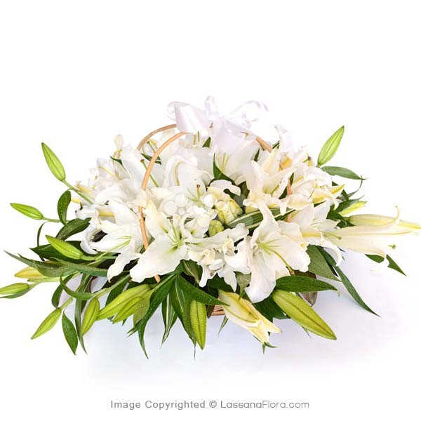 Basket of White Lilies - Sympathy - in Sri Lanka