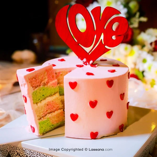 LOVE HEART BLUSH PINK CAKE - 1KG (2.2LBS) - Lassana Cakes - in Sri Lanka