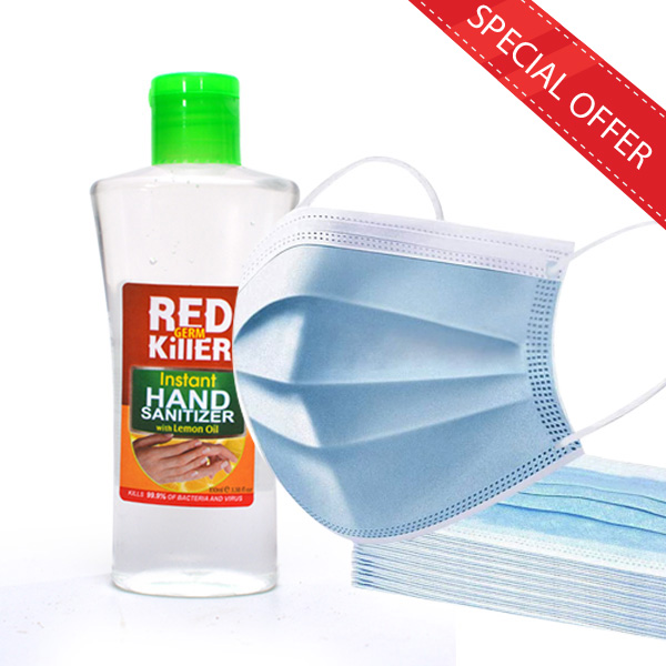 HAND SANITIZER 100ML + 10 FACE MASKS ( 3PLY ) - Personal Care - in Sri Lanka