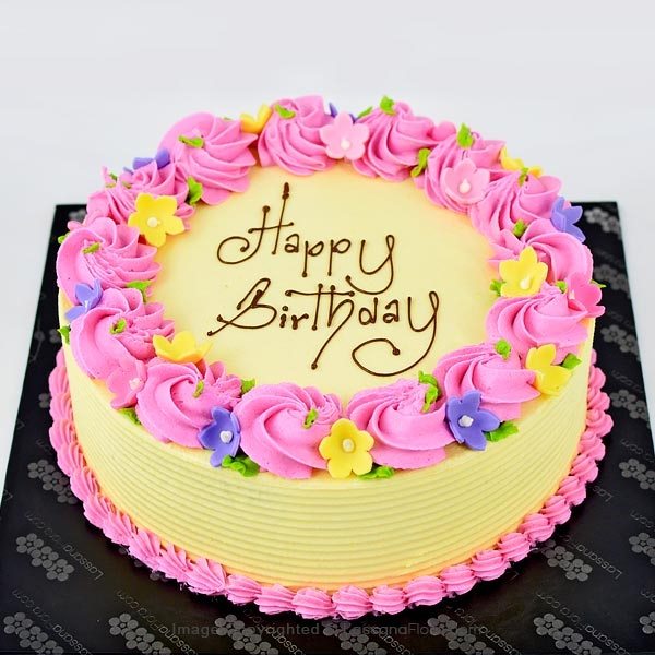 BIRTHDAY ROUND RIBBON CAKE 1Kg (2.2 lbs) - Lassana Cakes - in Sri Lanka