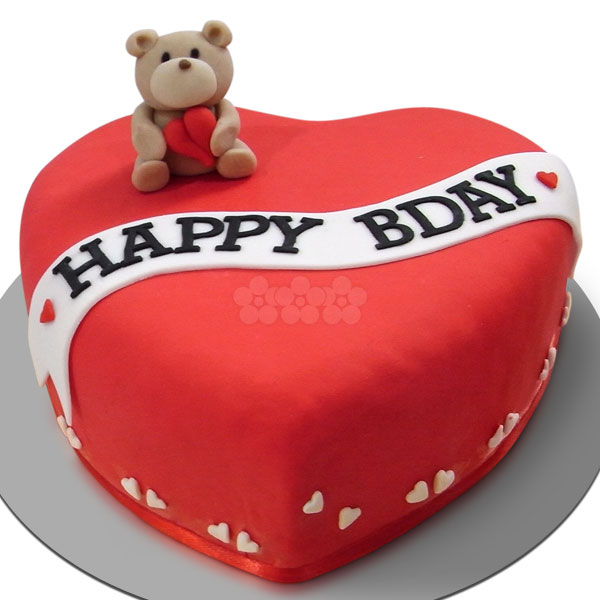BIRTHDAY TEDDY S HEART CHOCOLATE CAKE 1Kg (2.2 lbs) - Lassana Cakes - in Sri Lanka