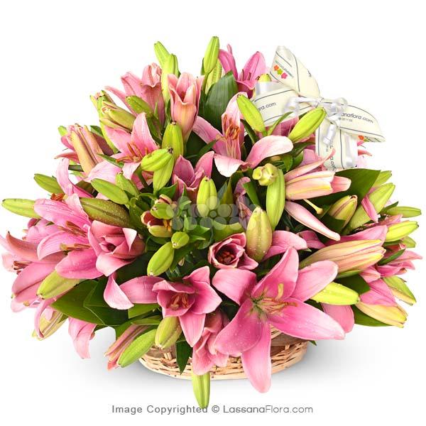 BASKET OF SUMMERSET LILIES ( Pink Lilies ) - Love & Romance - in Sri Lanka