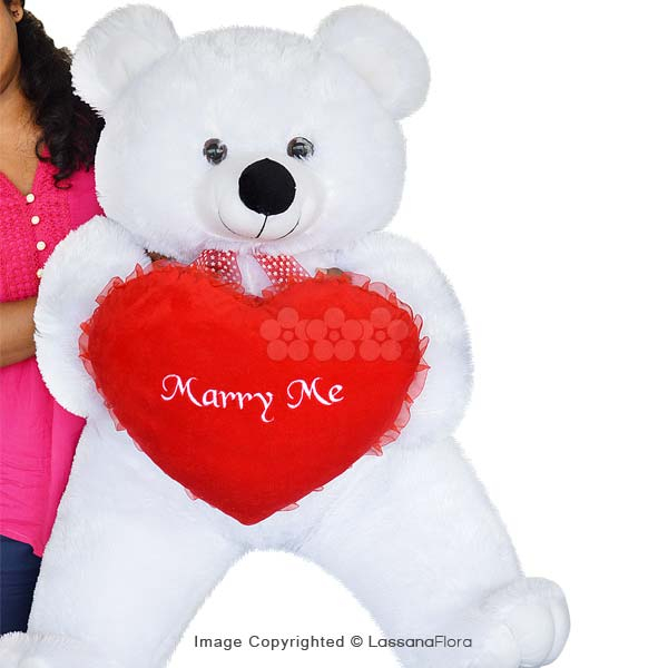 MARRY ME XXL WHITE TEDDY BEAR - Soft Toys - in Sri Lanka