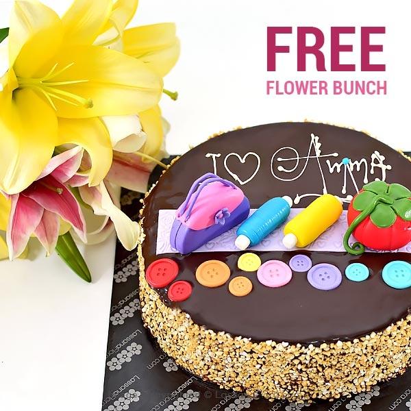 I LOVE YOU AMMA-1KG (2.2 lbs) (FREE FLOWER BUNCH ) - Lassana Cakes - in Sri Lanka
