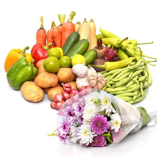 HEALTH & HAPPINESS VEGETABLES HAMPER (With Flower Bunch) - Vegetables & Fruits - in Sri Lanka
