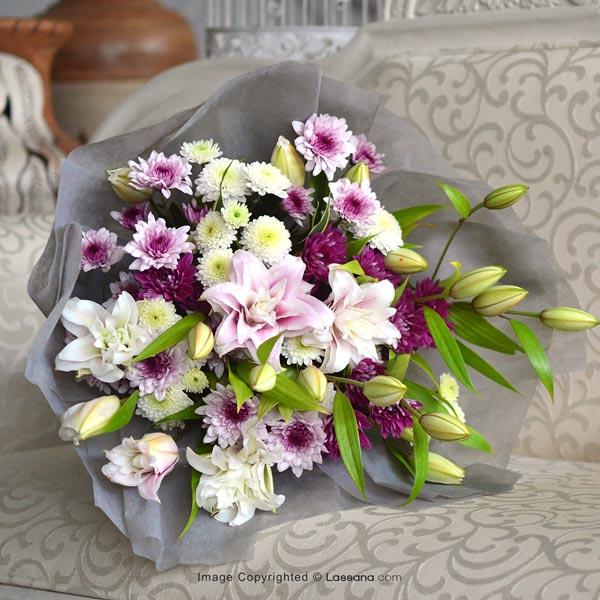 Rose Lilies With Chrysanthemums ( Bunch ) - Birthday - in Sri Lanka