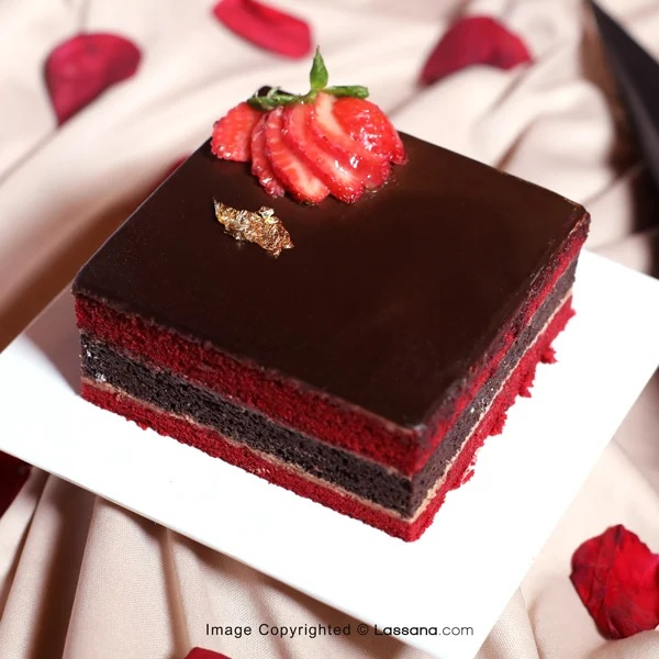 MINI RED VELVET FUDGE SQUARE - 300g(0.66lbs) - Lassana Cakes - in Sri Lanka