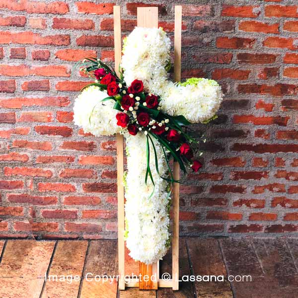 Cross Type Stand On Coffin Wreath New - Sympathy - in Sri Lanka