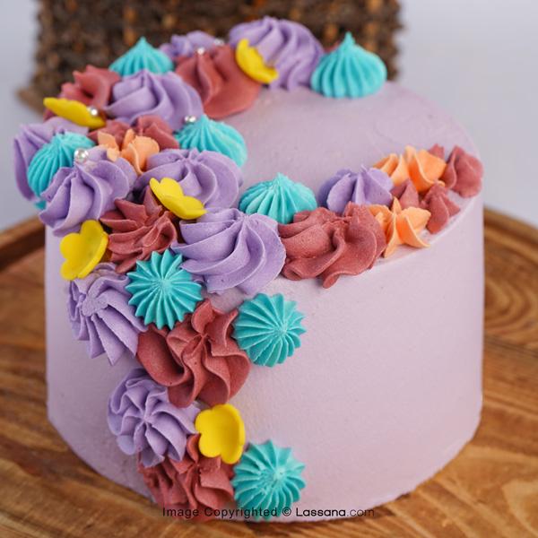 SHADES OF PASTEL RIBBON CAKE 1KG (2.2LBS) - Lassana Cakes - in Sri Lanka