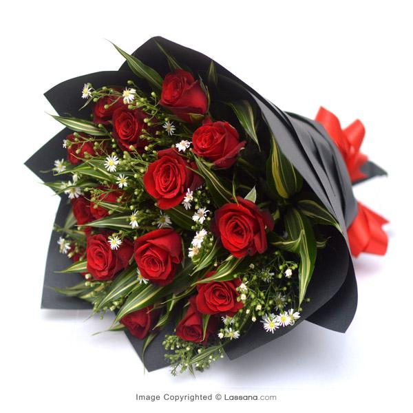 15 VELVETY RED ROSES BOUQUET - Love & Romance - in Sri Lanka