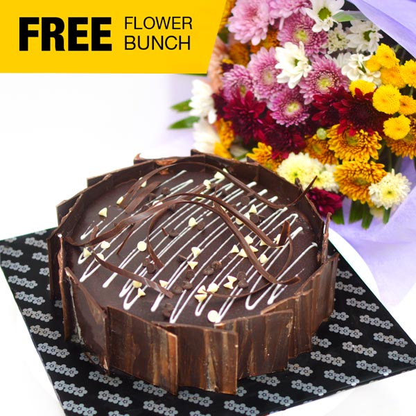 CHOCOLATE SLUDGE CAKE ( New) -1 KG (2.2 lbs) (Free Flower Bunch) - Lassana Cakes - in Sri Lanka