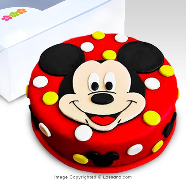 MICKEY MOUSE FACE CAKE - 1.1Kg (2.4lbs) - Lassana Cakes - in Sri Lanka