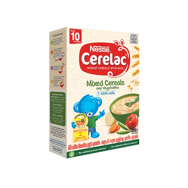 CERELAC INFANT CEREAL WITH MILK MIXED CEREALS AND VEGETABLES WITH MILK 250G - Baby Care - in Sri Lanka