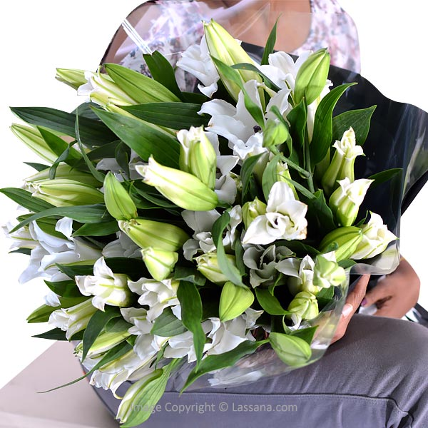 Premium White Lilies (Bouquet) - Love & Romance - in Sri Lanka