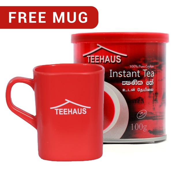TEEHAUS CEYLON INSTANT TEA POWDER METAL TIN 100G WITH FREE MUG - Beverages - in Sri Lanka