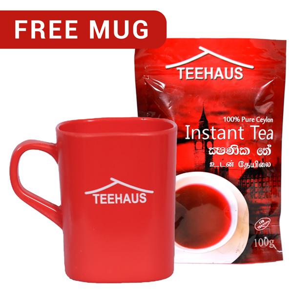 TEEHAUS CEYLON INSTANT TEA POWDER STAND ZIP POUCH 100G WITH FREE MUG - Beverages - in Sri Lanka