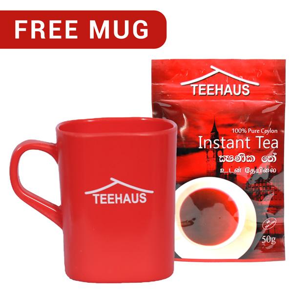 TEEHAUS CEYLON INSTANT TEA POWDER STAND ZIP POUCH 50G WITH FREE MUG - Beverages - in Sri Lanka