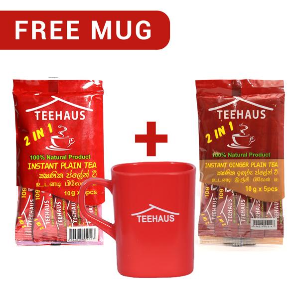 TEEHAUS CEYLON INSTANT PLAIN TEA 50G SACHETS AND TEEHAUS CEYLON INSTANT GINGER PLAIN TEA 50G SACHETS WITH FREE MUG - Beverages - in Sri Lanka