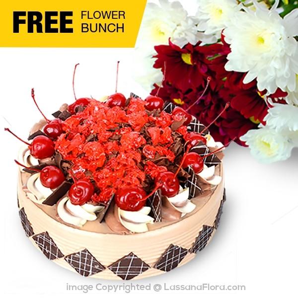 LASSANA CHERRY BRANDY GATEAU (FREE FLOWER BUNCH) - 1.25kg(2.75 lbs) - Lassana Cakes - in Sri Lanka