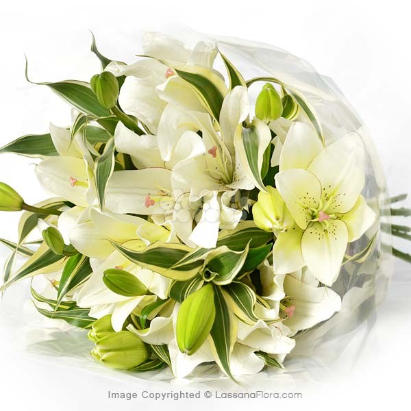 Bunch of White Lilies (5 Stems) - Sympathy - in Sri Lanka